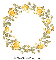 Wreath from rose - Retro round frame from roses, painted in...
