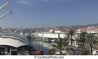 View of the old port of Genoa - Panoramic view of the old...