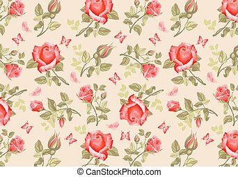 Retro flower card- roses - Luxurious retro style floral...