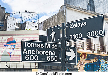 Sign at the corner of Zelaya street at Abasto tango...