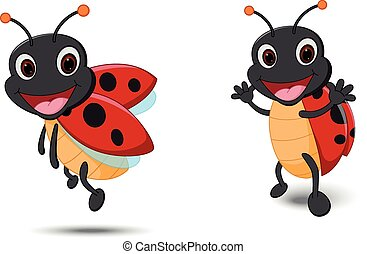 Happy Lady bug cartoon - Vector Illustration of Happy Lady...