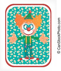 Greeting card with red head clown