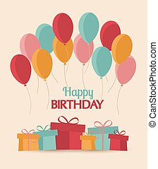 Happy Birthday - Greeting card with flying balloons and...