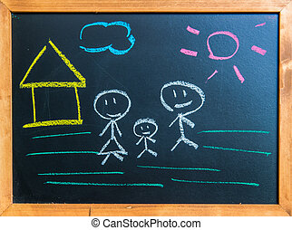 Draw sweet home on black board