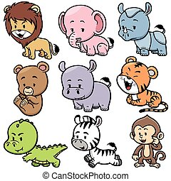 Animals - Vector illustration of Animals cartoon
