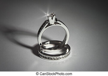 engagement rings - photo of diamond solitaire ring and...
