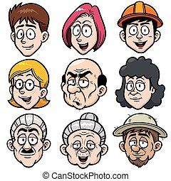 Face set - Vector illustration of Cartoon face set