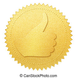 thumb up gold paper seal or medal isolated on white