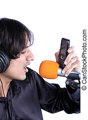 Ringtone Singer - A metaphorical image of a singer recording...