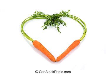 Coração, FORMA, cenouras, fresco
