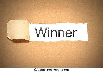 brown paper torn to reveal winner - brown packaging paper...
