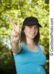 victory hand young woman