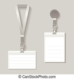 Lanyard, name tag holder end badge templates vector -...