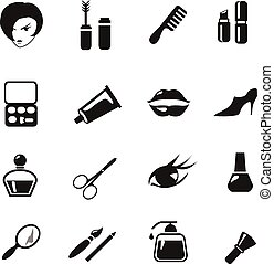 beauty and make up vector black icons - beauty and make up...