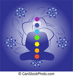 Chakras - Illustration of a silhouette with chackras. Each...