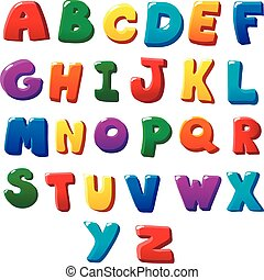 Alphabet letters - Alphabet colored letters on a white...