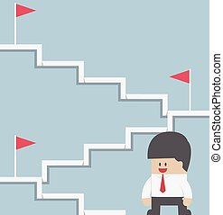 Businessman climbing on the stairway to target, VECTOR,...