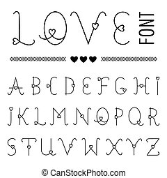 Hand drawn Love Font - Valentine's Set with Hearts - in vector