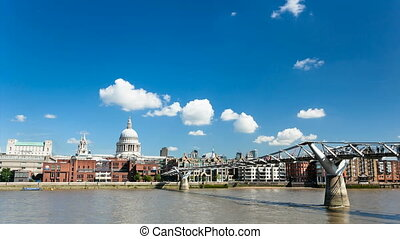 St. Paul's and Millennium Bridge - Time lapse sequence of...