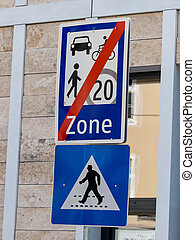traffic signs encounter zone - a little traffic or road is...