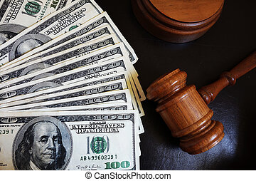 Court gavel - Legal court gavel on assorted cash...