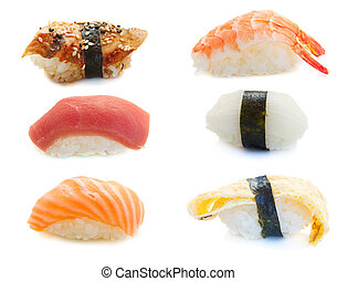 shrimp sushi - set of  sushi isolated on white background