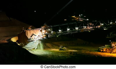 Bucket Wheel Excavator At Night - A giant Bucket Wheel...