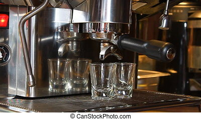 Two cups of espresso shot for hot cappuccino or hot latte