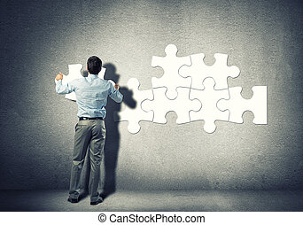 Problem solving - Businessman standing with back and...