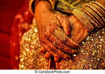Henna on brides hands - Traditional henna on brides hands on...