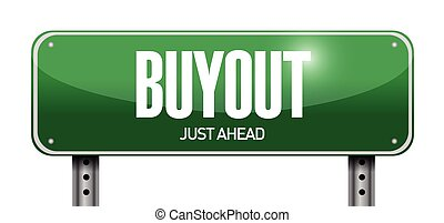 buyout street sign illustration design over a white...