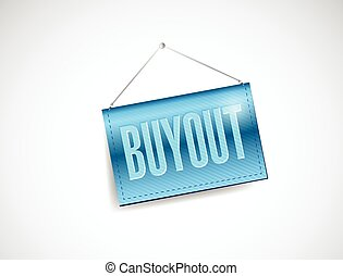 buyout hanging banner illustration design over a white...