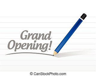 grand opening written sign illustration