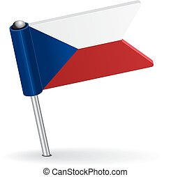 Czech pin icon flag. Vector illustration Eps 8.