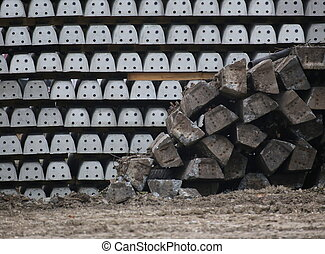 Old And New Railroad Ties - Old and new concrete railroad...