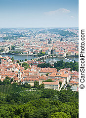 Prague skyline from Petrin Tower - Charles Bridge as seen...
