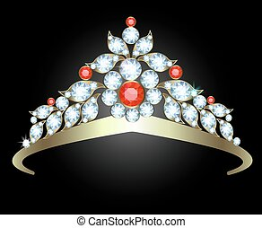 Diadem with diamonds and rubies on white background