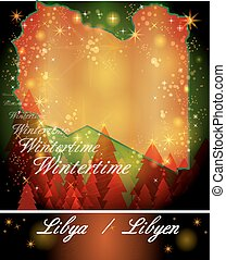 Map of Libya in Christmas Design