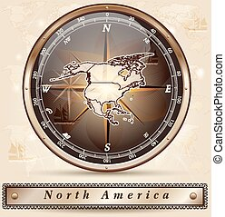 Map of North America with borders in bronze