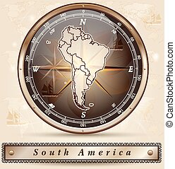 Map of South America with borders in bronze