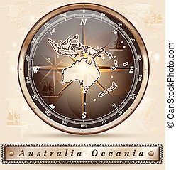 Map of australia-oceania with borders in bronze