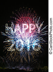 Happy New Year 2016 with colorful sparklers The words Happy...