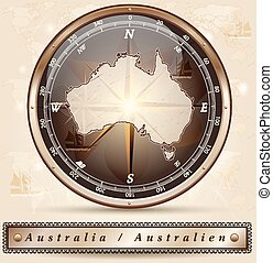 Map of Australia with borders in bronze