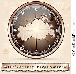 Map of Mecklenburg-Western Pomerania with borders in bronze