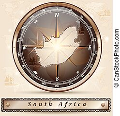 Map of south africa with borders in bronze