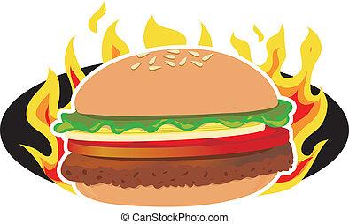 Flaming Hamburger - A hamburger on a background of flames