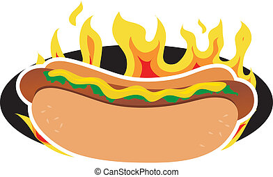 Flaming Hot Dog - A hot dog on a background of flames
