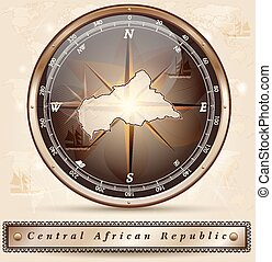 Map of Central African Republic with borders in bronze