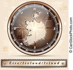 Map of Ireland with borders in bronze