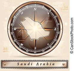Map of Saudi Arabia with borders in bronze